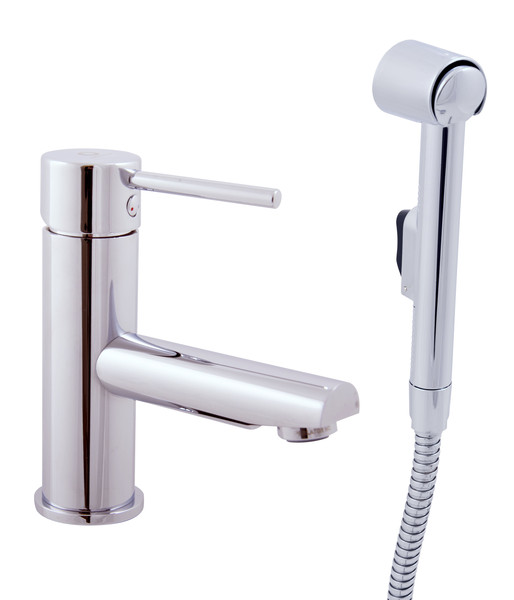 Basin lever mixer with hand shower